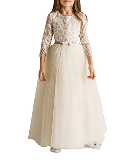 65b58fc66d35 Kiss Rain Flower Girls Lace Party Birthday Dress Princess Ball Gowns With Long  Sleeve (Beige