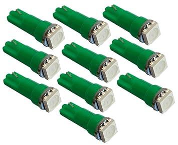 AERZETIX: 10 x Bombillas T5 12V LED SMD para salpicadero Luz verde: Amazon.es: Coche y moto