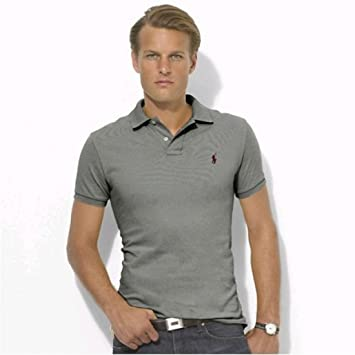 Polo Men Ralph Lauren Stickup Custom-Fit Mesh Grey Wine SIZE:M