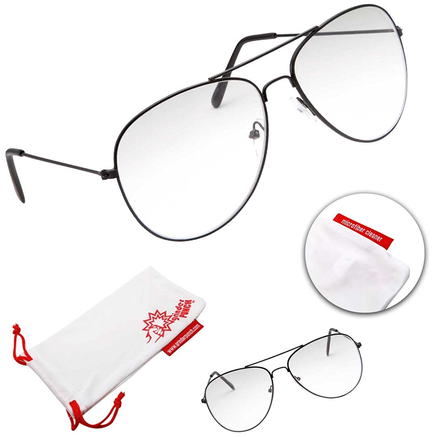 Amazon.com: grinderPUNCH Aviator Clear Lens Eyeglasses for Fashion ...