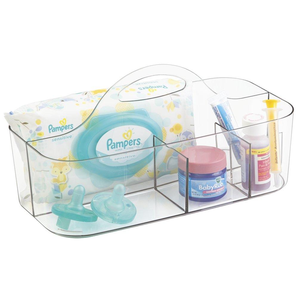 mDesign Boîte de rangement pour accessoires de bébé – Panier rangement bébé – 6 casiers de produits pour bébé – Rangement chambre bébé – En plastique transparent pour chambre d'enfant ou salle de bain MetroDecor 0108MDB