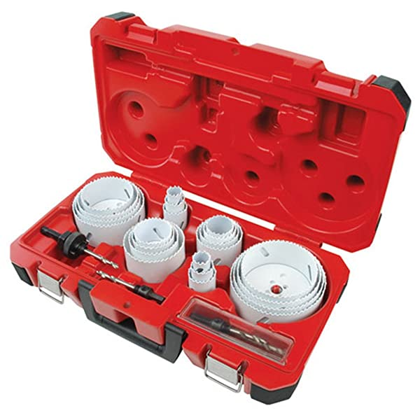 Milwaukee 49-22-4185 28-Piece All Purpose Professional Ice Hardened Hole Saw Kit (Color: RED)