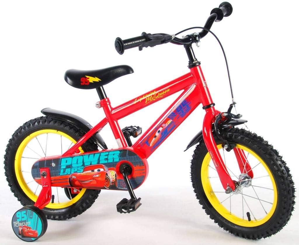 Disney Bicicleta Infantil Niño Chico 14 Pulgadas Cars Freno Delantero al Manillar y Trasero Contropedal Ruedas Extraibles 85% Montada: Amazon.es: Deportes y aire libre