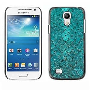 Be Good Phone Accessory // Dura Cáscara cubierta Protectora Caso Carcasa Funda de Protección para Samsung Galaxy S4 Mini i9190 MINI VERSION! // Teal Iridescent Scale Pattern Fish Tro