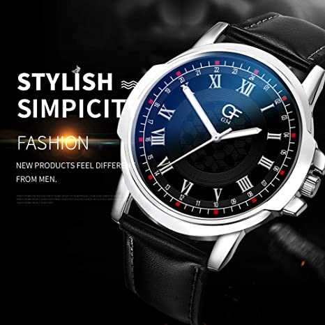 Amazon.com : XBKPLO Quartz Watches Mens Analog Wrist Watch Pointer Light Large Dial Retro Leather Band Temperament Strap Watch Jewelry Gift : Pet Supplies