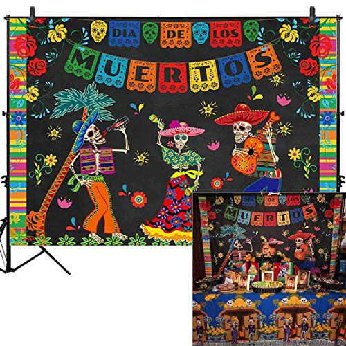 Day Of The Dead Decorations (Allenjoy 7x5ft Day of The Dead Backdrop for Mexican Fiesta Sugar Skull Photography Background Dia DE Los Muertos Dress-up Birthday Party Supplies Fiesta Banner Table Decor Decoration Photo Booth)