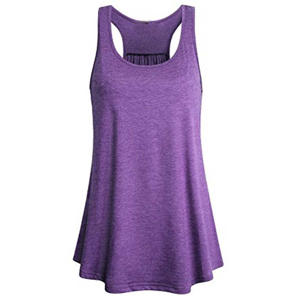HWTOP Damen Sport Yoga Tank Bluse Top ärmellose Feste Flowy Baumwolle Racerback Weste