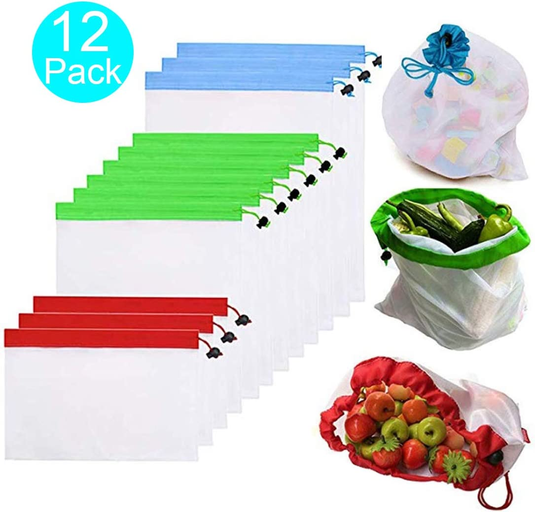 Reusable Produce Bags, Set of 12, Premium Lightweight See Through Washable Mesh Bags, Food Safe Mesh Bags For Fruit, Veggies, Fridge Organizing, Toys & Books, Eco Friendly Net Bags (12pcs Mesh Bags)