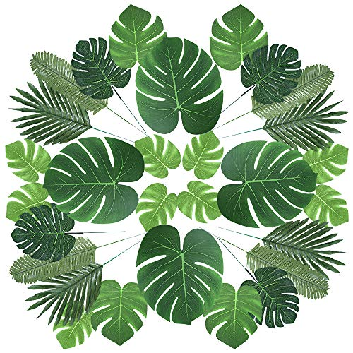 Auihiay 60 Pieces 6 Kinds Artificial Palm Leaves with Faux Monstera Leaves Stems Tropical Plant Simulation Safari Leaves for Hawaiian Luau Party Jungle Beach Theme Party Table Leave Decorations -