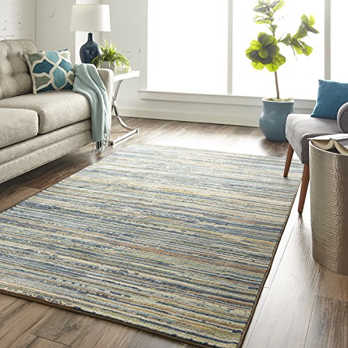 Mohawk Santa - Mohawk Home Z0276 A439 096120 EC Prismatic Santos Striped Printed Contemporary Area Rug, 8'x10', Blue