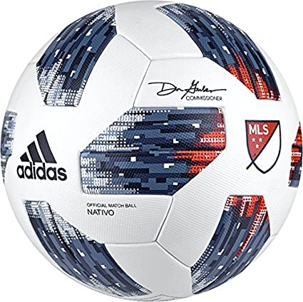 6601dba94 Amazon.com : Adidas 18 Mls Omb Soccer Ball 5 White/Blue : Sports ...