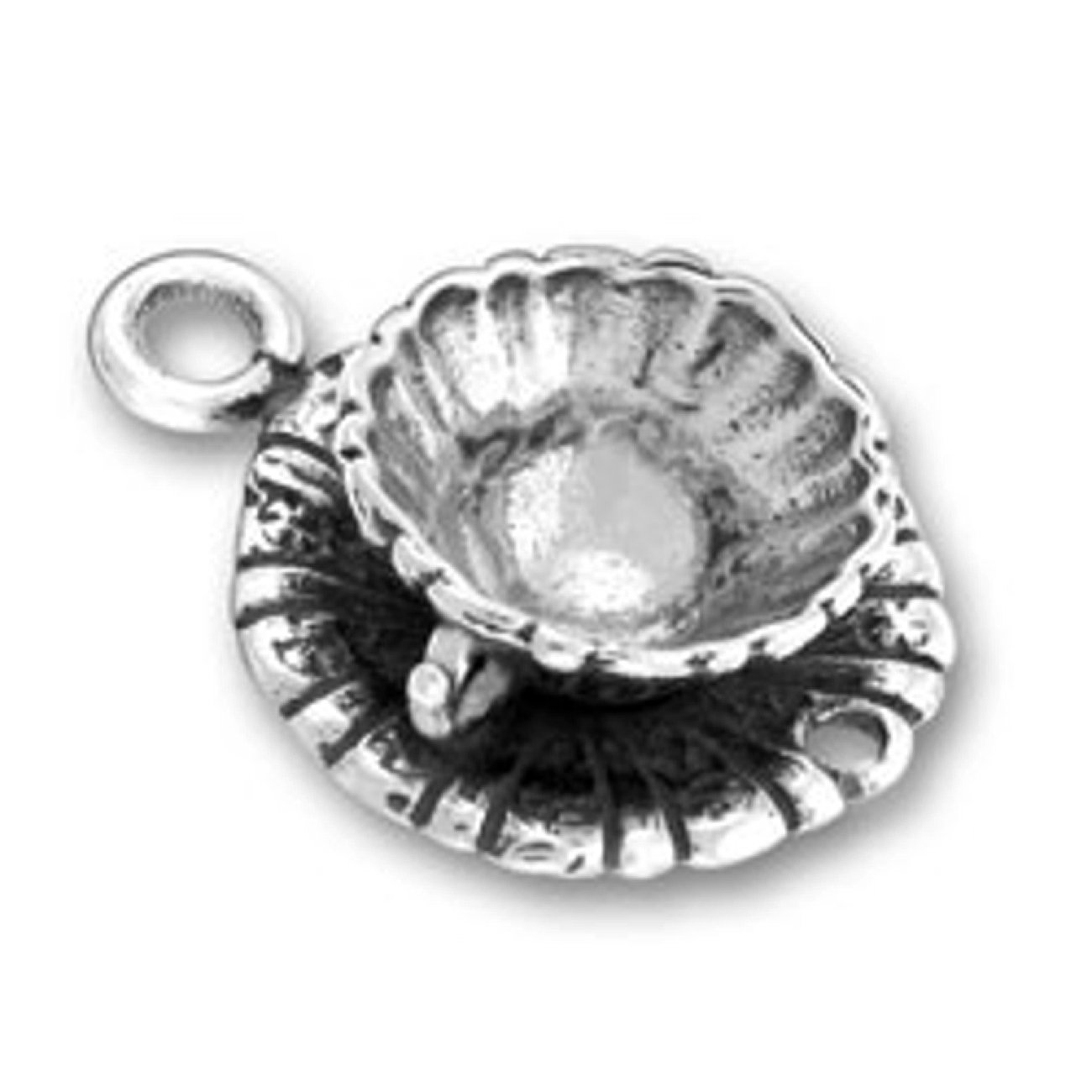Sterling Silver Charm Bracelet Attached 3D Kitchen Decorative Tea Or Coffee Cup Charm Saucer And Spo