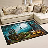 Naanle Halloween Area Rug 3'x5', Mystery Graveyard Pumpkin Polyester Area Rug Mat for Living Dining Dorm Room Bedroom Home Decorative
