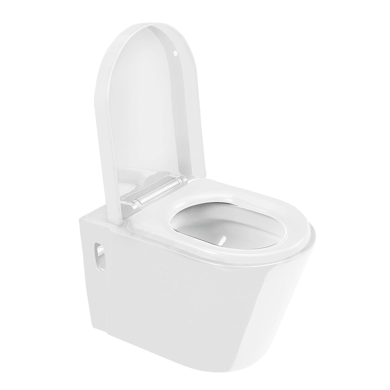 [Neu.Haus]® ] Cé ramique WC Mural Systè me 'Soft-Close' Noir Rincer Bas Toilette Cabinet