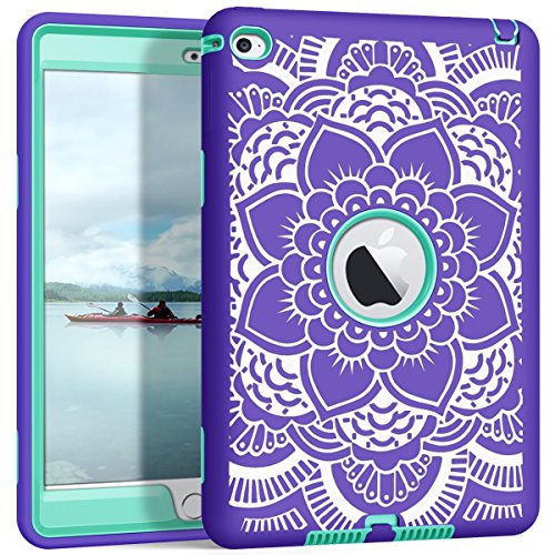 iPad Mini 4 A1538/A1550 Case, Hocase Rugged Shockproof Protection Hard Plastic+Silicone Rubber Hybrid Protective Case for Apple iPad Mini 4 7.9 Display Retina - Purple Flower/Teal