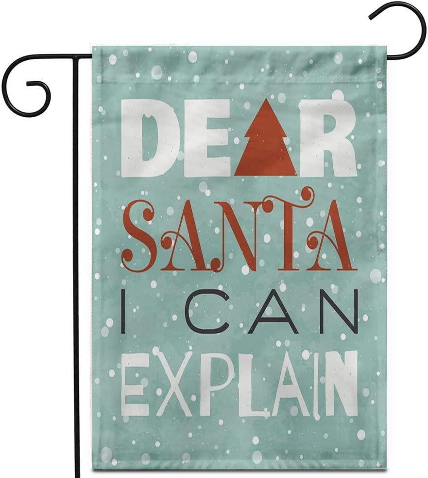 Crysss 12.5x18Inch Garden Flag Dear Santa I Can Explain New Year Christmas Retro Typographic Outdoor Home Decor Double Sided Yard Flags Banner for Patio Lawn