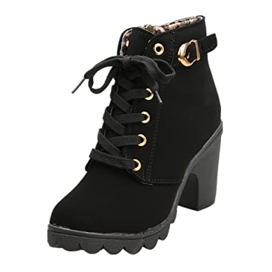 d5e16a06ef2 SHOBDW Womens Boots, Ladies Girls Fashion High Heel Lace up Zipper Ankle  Buckle Platform Autumn Shoes