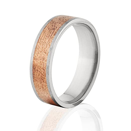 7mm Titanium Wedding Ring With Copper Inlay Rings Band 5