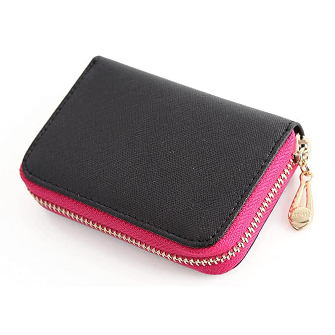 b84dbc47054 Genuine Leather Accordion Zipper Name Card Wallet womens Wallets Small Purse