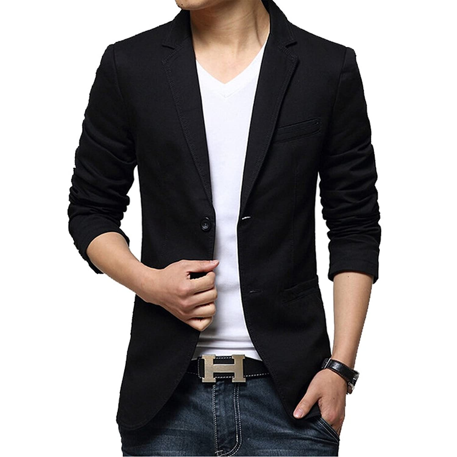 iPretty Men's Suit Jacket Fashion Slim Cotton Thin Casual Two