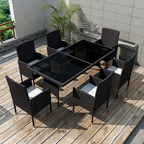 Festnight Garden Dining Furniture Set 7PCS Wicker Dining Table and Chairs with Washable Cushions Modern Design Black (Patio Dinning)