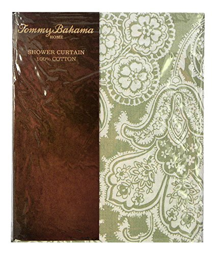 Tommy Bahama Island Memory Green Floral Cotton Shower Curtain