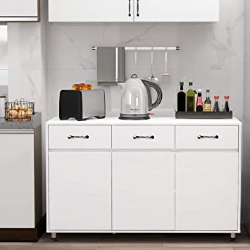 Amazon Com Rasoo Buffet Cabinet Kitchen Cabinet Storage Sideboard Cabinet Cupboard Sideboard Buffet Kitchen Room White 3 Doors And 3 Drawers Buffets Sideboards