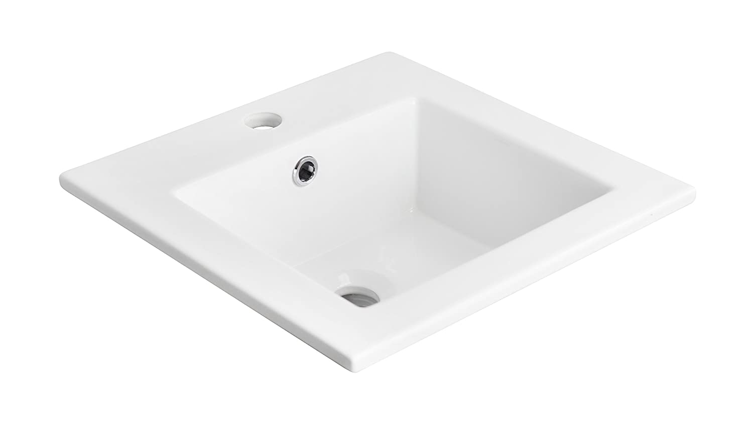 21-in W x 18-in D Above Counter Square Vessel In White Color For Single Hole Faucet IMG Imports Inc. AI-11-647