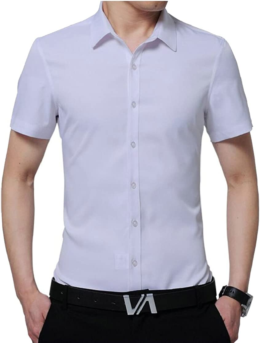 Keaac Mens Solid Short Sleeve Formal Business Lapel Button Down Shirts