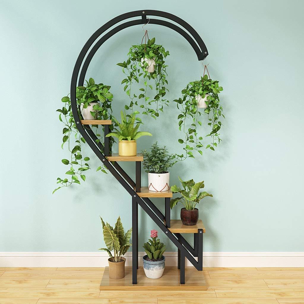 E WAN SAN QIAN- Flower Stand Home Floor Flower Pot Shelf Multi-Layer Indoor and Outdoor Metal Rack Plant Display Shelves 60×30×153cm Flower racks (color   G)