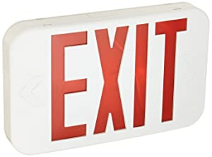 Lithonia Lighting EXR EL M6 Contractor Select Red LED Backup Battery Exit Emergency Sign, Back Text