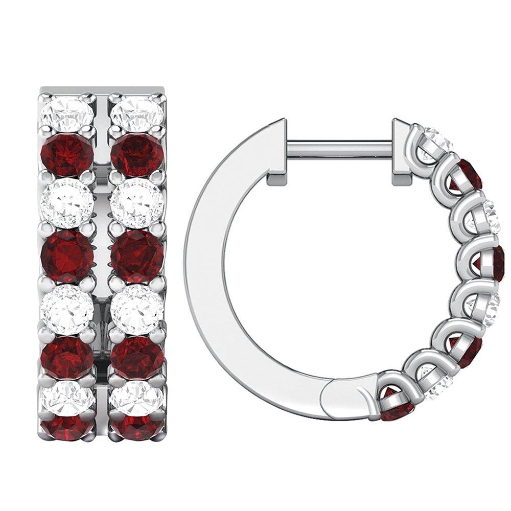1.34 ct Real Diamond & Ruby Gemstone 10K Gold Hoop Earrings For Women's (white-gold) by omega jewellery