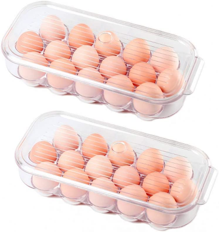 "AJY Clear Egg Storage Container, BPA-Free, Stackable Plastic Egg Holder for Refrigerator, Keep Organized, 16 Eggs, 12.36"" x 5.62"" x 3.03"" (pack of 2)"