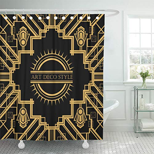 Emvency Shower Curtain Black Gatsby Vintage Retro Design Great Shower Curtains Sets with Hooks 60 x 72 Inches Waterproof Polyester Fabric -