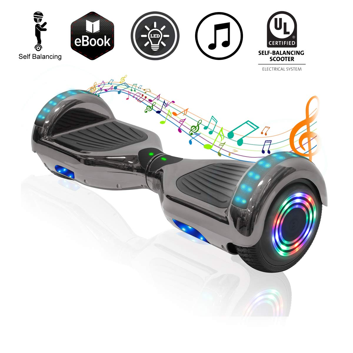 Hoverboard|Hover Board Ul2272 Certified Self Balancing Electric Scooter with Bluetooth&LED for Kids&Adult Cool&Fun 6.5 Chrome Surface Hoverboards Perfect Christmas|Birthday Gift (Chrome Black)