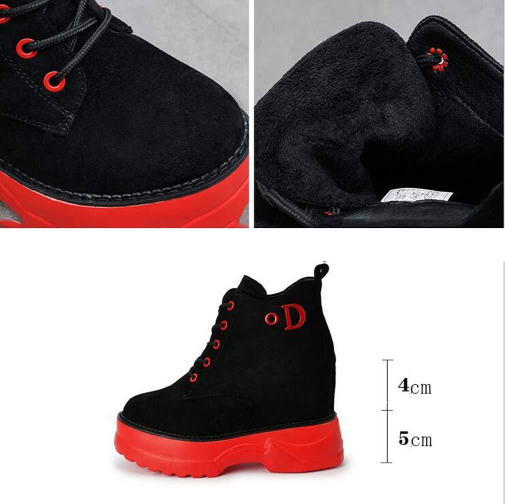 Hy Damenschuhe, Herbst Winter Erhöhen Erhöhen Erhöhen Sie Stiefelies Stiefeletten sowie Kaschmir-warme Winddichte Martins-Stiefel, Damen Casual Turnschuhe, Laufschuhe (Farbe   Rot, Größe   39) 7fb4a2