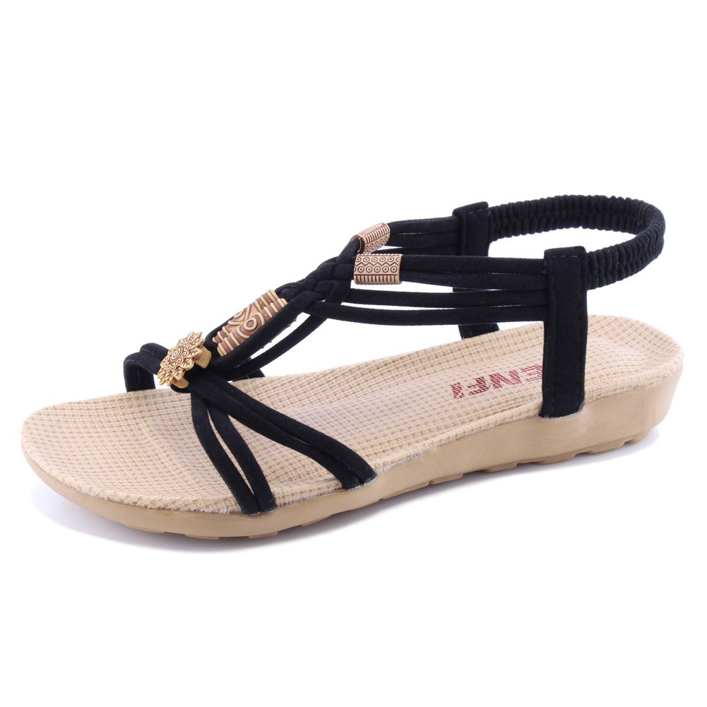 SENFI Women Summer Bohemia Elastic Strappy String Sandals,WSF01,Black,42