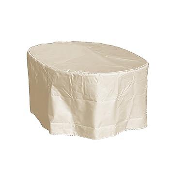 GREEN CLUB Housse de Protection Table Ovale de Jardin Haute qualité  Polyester L180 xl 110 xh 70 cm Couleur Beige