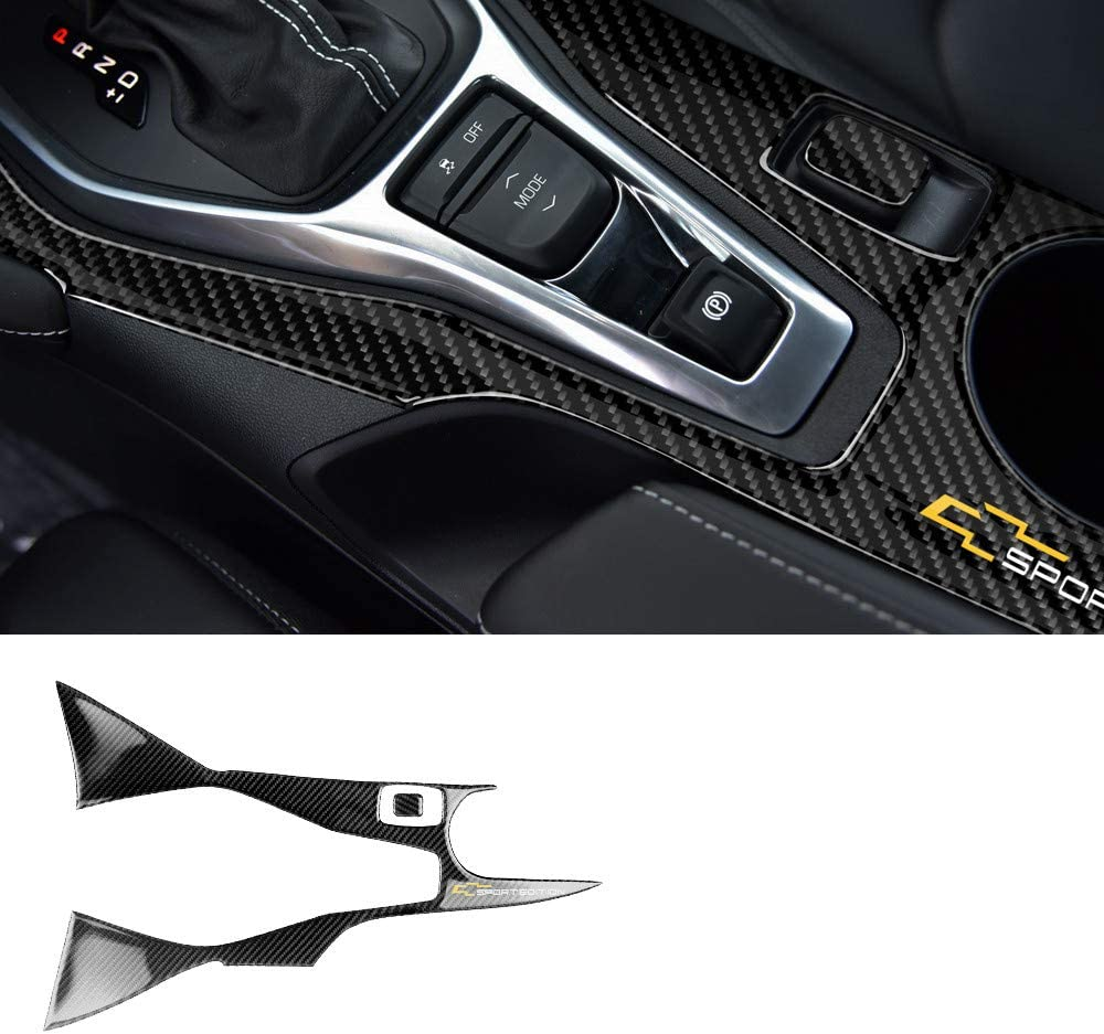 Black WIACO Real Carbon Fiber Car Interior Gear Box Panel Cover Car Shift Trim Sticker Molding Trim Gear Shift Frame Decor for Ford Mustang 2020 2019 2018 2017 2016 2015