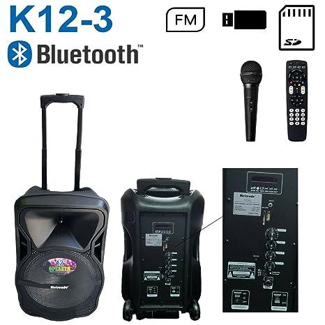 Altavoz Bluetooth K12 – 3 activa Speaker altavoces micrófono portátil con ruedas