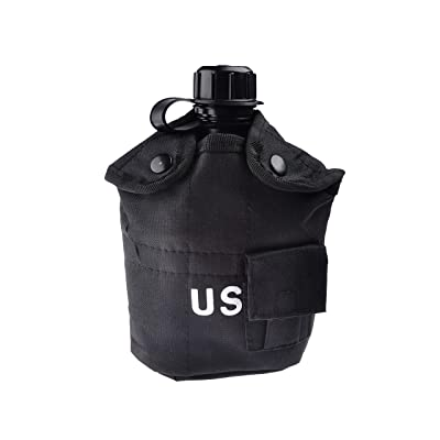 1L US Army Aluminum Canteen Water Bottle Hiking Camping Nylon Cover Black