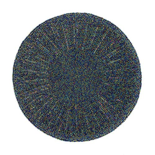 (Northeast Home Goods Beaded Round Placemat Centerpiece, 14-Inch (Blue) )