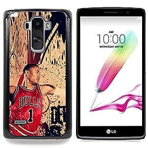 "Qstar Arte & diseño plástico duro Fundas Cover Cubre Hard Case Cover para LG G4 Stylus H540 (Chic Bull 1 Baloncesto"")"