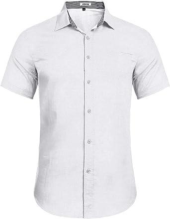 Aibrou Camisa Hombre Verano de Manga Corta de Algodón Camisas de Hombre Lino Casual 2019: Amazon.es: Ropa y accesorios