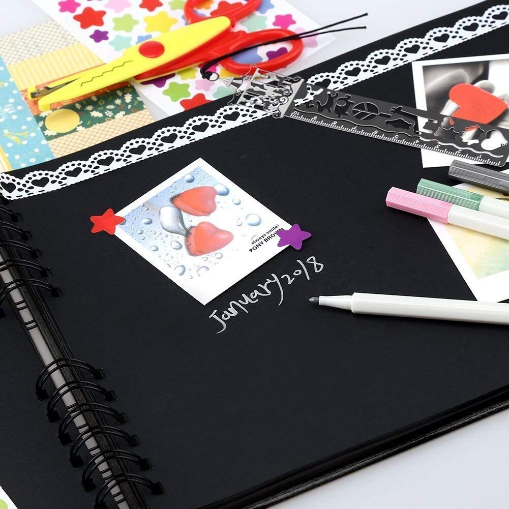 DIY Scrapbook Album, 40 Pages Photo Album Craft Paper, Great for Wedding, Anniversary,, Family Scrapbook with DIY Accessories Kit