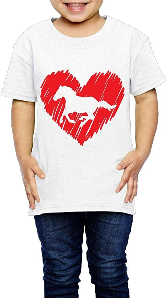 Horse Red Heart 2-6 Years Old Boys /& Girls Short-Sleeved T Shirts