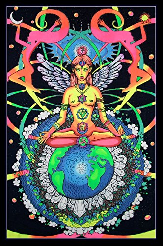(Space Tribe Psychedelic Tapestry 'Chakra Goddess' - Hand-Painted and Silkscreen Batik Wall-Hanging - UV Active Wall-Hanging -Trippy Wall Art - Black Light Active New Age Tapestry - Fantasy Tapestry)