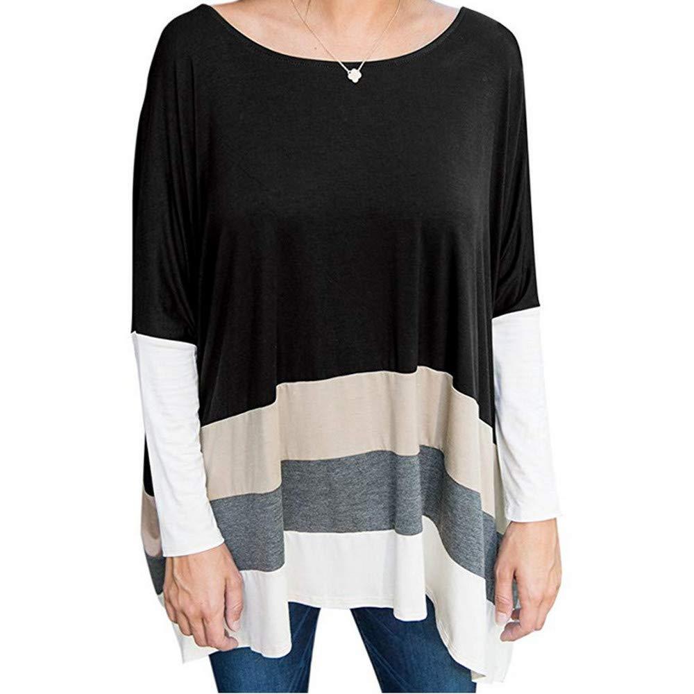 Fashion Women O-Neck Long Sleeve Patchwork Shirt Tops Blouse Plus Size Stripe Asymmetrical dip Hem (Black, XL)