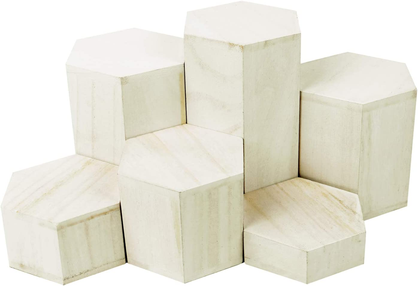 Mooca Wooden 6 Pcs Hexagon Risers for Display Jewelry and Accessories Display Stand, Wooden Display Risers, Wood Jewelry Risers Wood Figurine Display Risers, Wash White