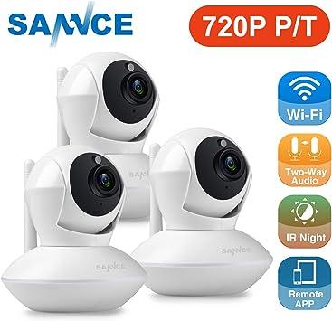 SANNCE 3 Cámara IP de vigilancia 720P HD WiFi Pan / Tilt / Zoom inalámbrico de seguridad Interior
